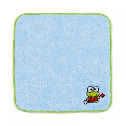 〔小禮堂〕大眼蛙 純棉無捻紗圓角小方巾《藍綠.朋友》20x20cm.手帕.毛巾