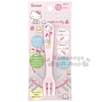 〔小禮堂〕Hello Kitty 兒童塑膠叉子《淡粉.側坐》嬰幼兒食器.兒童餐具