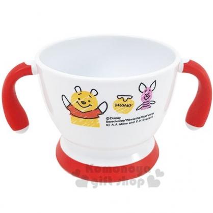 〔小禮堂〕迪士尼 小熊維尼 兒童雙耳塑膠學習碗《白紅.舉雙手》塑膠碗.兒童碗