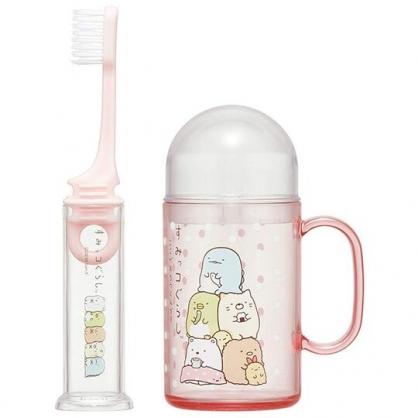 〔小禮堂〕角落生物 杯裝旅行牙刷組《粉.點點疊坐》折疊牙刷.盥洗用品