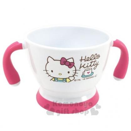 〔小禮堂〕Hello Kitty 兒童雙耳塑膠學習碗《白粉.招手》塑膠碗.兒童碗