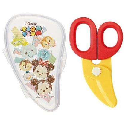 〔小禮堂〕迪士尼TsumTsum 嬰兒食物剪刀附盒《黃紅.素描大臉》兒童餐具.料理剪刀
