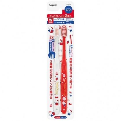 〔小禮堂〕Hello Kitty 成人牙刷組《2入.紅白.草莓》盥洗用具.口腔清潔
