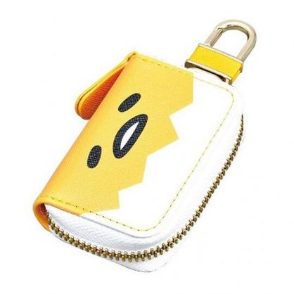 〔小禮堂〕蛋黃哥 皮質拉鍊鑰匙包《黃白.大臉》掛飾.收納包.遙控包