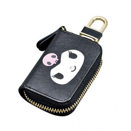 〔小禮堂〕酷洛米 皮質拉鍊鑰匙包《黑紫.大臉》掛飾.收納包.遙控包