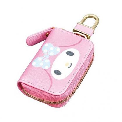 〔小禮堂〕美樂蒂 皮質拉鍊鑰匙包《粉藍.大臉》掛飾.收納包.遙控包