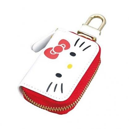 〔小禮堂〕Hello Kitty 皮質拉鍊鑰匙包《白紅.大臉》掛飾.收納包.遙控包