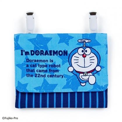 〔小禮堂〕哆啦A夢 日製兒童帆布夾式口袋包《深藍.星星》收納包.腰包.零錢包