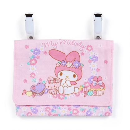 〔小禮堂〕美樂蒂 日製兒童帆布夾式口袋包《粉紫.花朵》收納包.腰包.零錢包