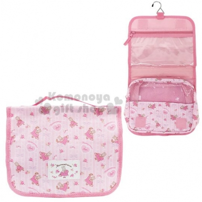 〔小禮堂〕兔媽媽 尼龍旅行盥洗收納包《粉白.直條紋》化妝包.沐浴包.盥洗袋