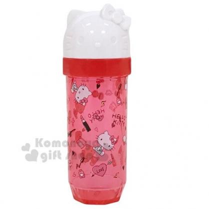 〔小禮堂〕Hello Kitty 造型蓋透明塑膠棉花棒罐《紅.滿版》隨身置物罐.收納罐.銅板小物