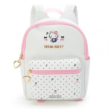 〔小禮堂〕Hello Kitty 兒童造型耳朵皮質拉鍊後背包《白黑.點點》雙肩包.外出包