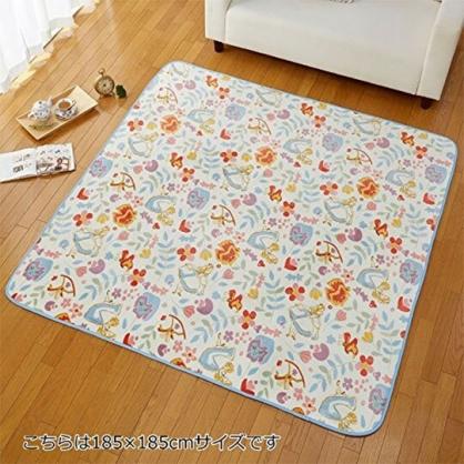 〔小禮堂〕迪士尼 愛麗絲 正方型地墊附收納袋《藍米.花草》185x185cm.地毯.遊戲墊