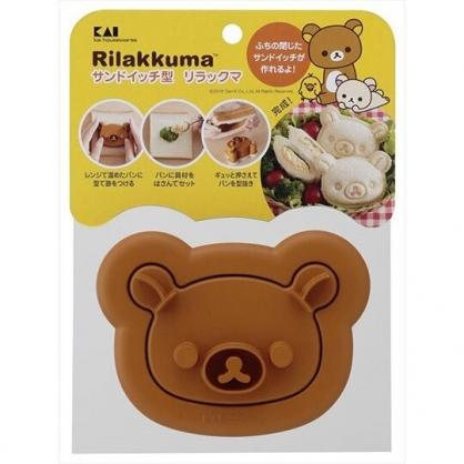 〔小禮堂〕懶懶熊 拉拉熊 日製大臉造型塑膠吐司壓模《棕》便當模具.押花