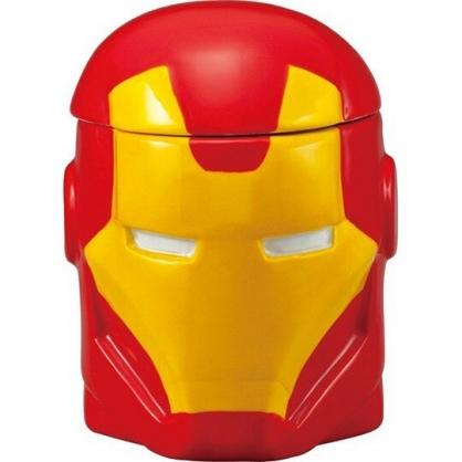 〔小禮堂〕漫威英雄 Marvel鋼鐵人 大臉造型陶瓷馬克杯附蓋《紅黃》300ml.茶杯.咖啡杯