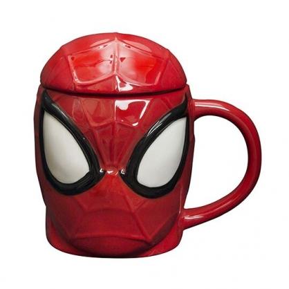 〔小禮堂〕漫威英雄 Marvel蜘蛛人 大臉造型陶瓷馬克杯附蓋《紅黑》450ml.茶杯.咖啡杯