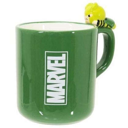 〔小禮堂〕漫威英雄 Marvel洛基 造型陶瓷馬克杯《綠.杯邊玩偶》260ml.茶杯.咖啡杯