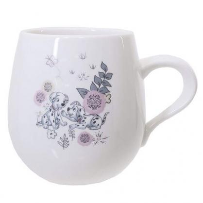 〔小禮堂〕迪士尼 101忠狗 日製胖胖陶瓷馬克杯《白黑.樹叢玩》咖啡杯.湯杯