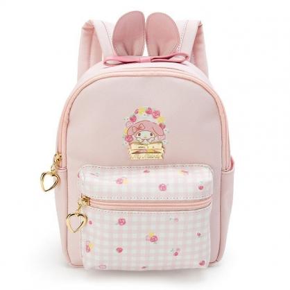 〔小禮堂〕美樂蒂 兒童造型耳朵皮質拉鍊後背包《粉白.格紋》雙肩包.外出包