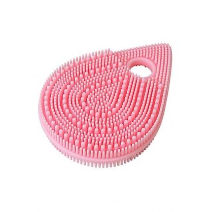 〔小禮堂〕日本TOWA 水滴造型雙面矽膠洗臉按摩刷《粉.泡殼裝》 洗顏刷.潔面刷