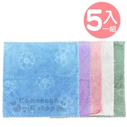 〔小禮堂〕袋裝短絨彩色抹布組《5入.貓咪》30x30cm.毛巾