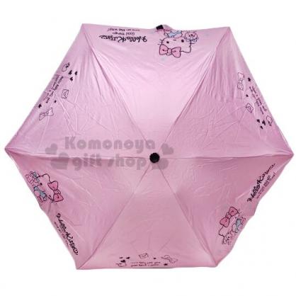 〔小禮堂〕Hello Kitty 抗UV折疊雨陽傘《粉.摸嘴坐姿》折傘.雨傘.雨具