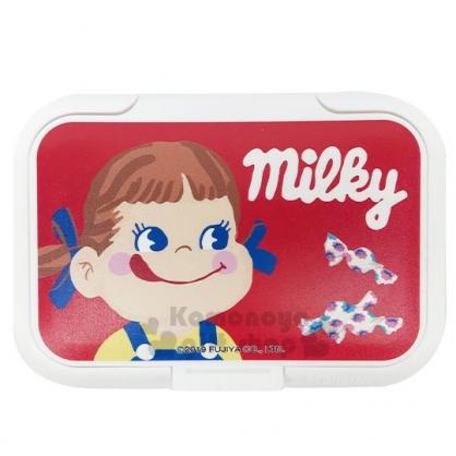 〔小禮堂〕不二家PEKO 日製塑膠方形濕紙巾蓋《紅白.大臉》濕巾盒蓋.密封蓋