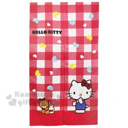 〔小禮堂〕Hello Kitty 棉麻長門簾《紅白.格紋》85x150cm.窗簾