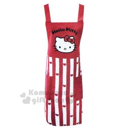 〔小禮堂〕Hello Kitty 綁帶式帆布圍裙《紅.直條愛心》圍兜.工作服