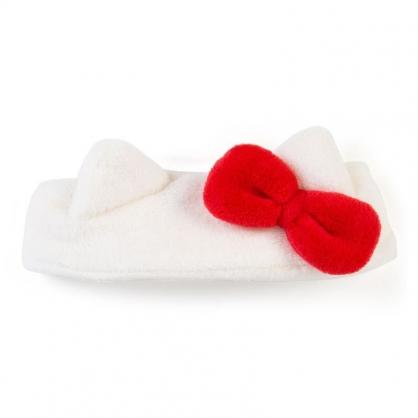 〔小禮堂〕Hello Kitty 造型耳朵絨毛鬆緊束髮帶《白紅》髮箍.髮飾.頭飾