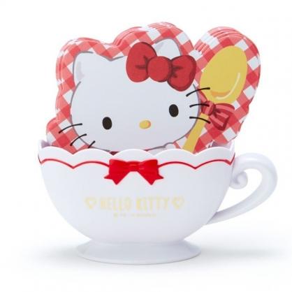 〔小禮堂〕Hello Kitty 咖啡杯造型置物盒便條紙組《紅白》留言紙.收納盒