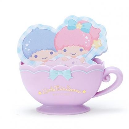 〔小禮堂〕雙子星 咖啡杯造型置物盒便條紙組《紫藍》留言紙.收納盒