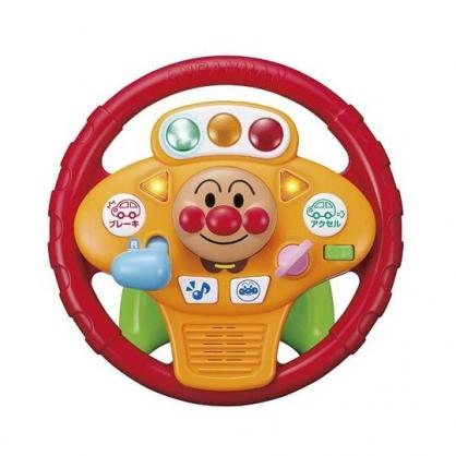 〔小禮堂〕麵包超人 燈光音樂方向盤玩具組《黃紅.大臉》兒童玩具
