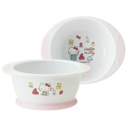 〔小禮堂〕Hello Kitty 兒童雙耳塑膠平底學習碗《粉白.蘋果》塑膠碗.兒童碗