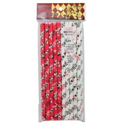 〔小禮堂〕迪士尼 米奇米妮 直徑8mm環保紙吸管組《20支入.紅白》21cm環保吸管