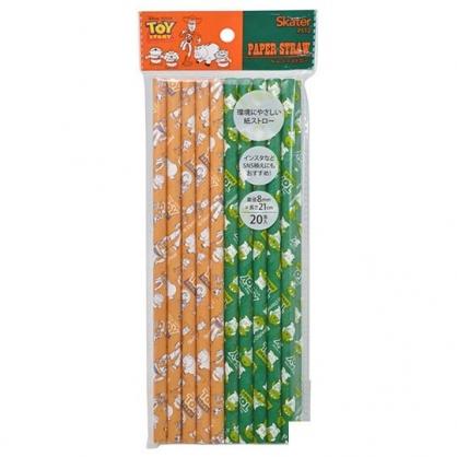 〔小禮堂〕迪士尼 玩具總動員 直徑8mm環保紙吸管組《20支入.綠橘》21cm環保吸管