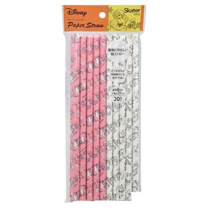 〔小禮堂〕迪士尼 小美人魚 直徑8mm環保紙吸管組《20支入.粉白》21cm環保吸管