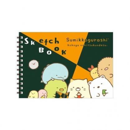 〔小禮堂〕角落生物 橫式空白頁左翻線圈筆記本《橘綠.看書》剪貼本.素描本.手札