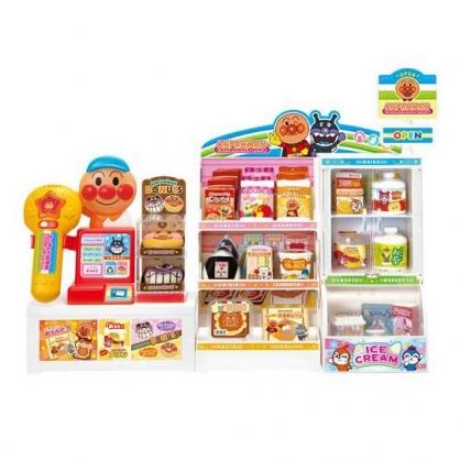〔小禮堂〕麵包超人 便利商店收銀台食物玩具組《紅白.櫥櫃》兒童玩具.收銀玩具
