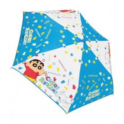 〔小禮堂〕蠟筆小新 彎把防風傘骨折疊傘《藍.星星》折傘.雨具.雨傘