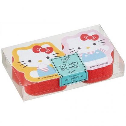 〔小禮堂〕Hello Kitty 造型彩印廚房清潔海棉組《2入.粉黃紅》菜瓜布.洗碗刷