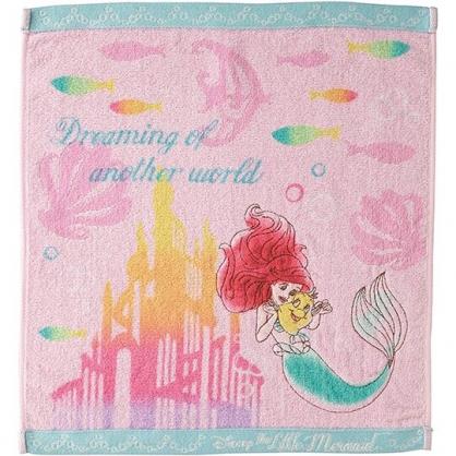 〔小禮堂〕迪士尼 小美人魚 純棉割絨方形毛巾《粉綠.城堡》34x36cm.手帕.丸真毛巾
