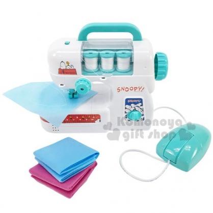〔小禮堂〕史努比 手提式迷你縫紉機玩具組《綠白》車縫機.兒童玩具.美勞玩具