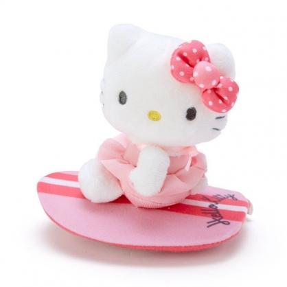 〔小禮堂〕Hello Kitty 絨毛玩偶娃娃造型迴力車玩具《粉白》擺飾.發條玩具