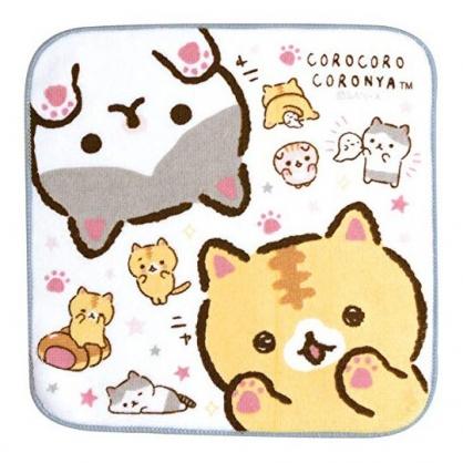 〔小禮堂〕麵包貓 純棉割絨圓角小方巾《白.舉手》21x21cm.手帕.毛巾