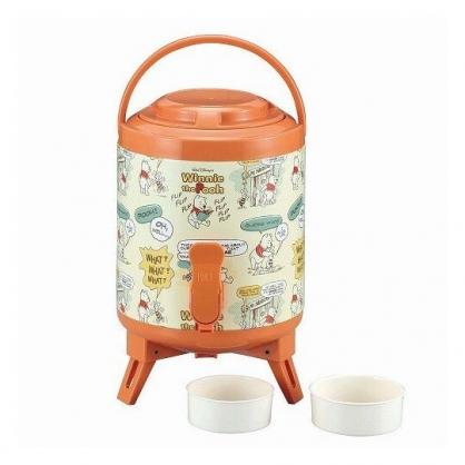 〔小禮堂〕迪士尼 小熊維尼 手提式不鏽鋼保溫水桶壺《米橘.對話框》2.9L.飲料桶.茶桶.派對桶