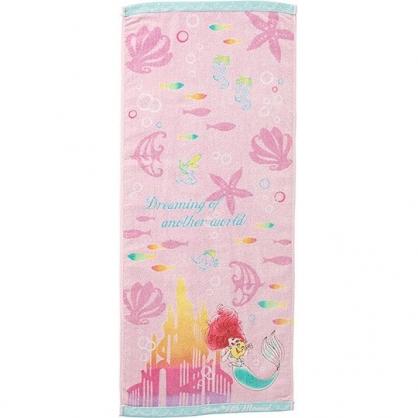 〔小禮堂〕迪士尼 小美人魚 純棉割絨長毛巾《粉綠.城堡》34x80cm.長巾.丸真毛巾
