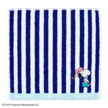 〔小禮堂〕史努比 純棉無捻紗小方巾《藍白直條》21x21cm.手帕.毛巾.薄荷涼夏系列