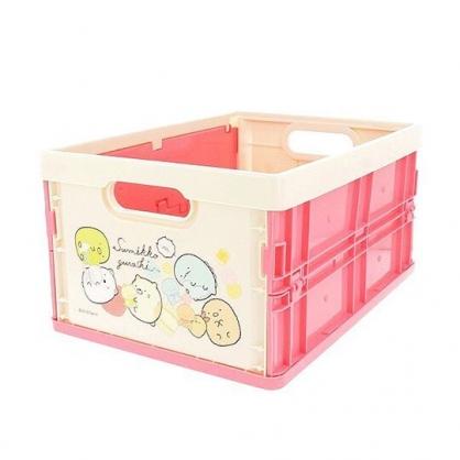 〔小禮堂〕角落生物 塑膠折疊無蓋收納箱《M.粉米.抱玩偶》可堆疊.收納盒.收納籃