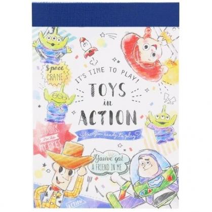 〔小禮堂〕迪士尼 玩具總動員 日製迷你便條本《藍白.插畫風》便條紙.留言紙